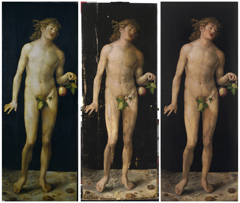 <p><em>Adam</em>prior to restoration, during and after. These three images show how damage to the support had directly and negatively affected the paint layer, resulting in losses to the preparation and color. The final images show how these were fully restored.</p>