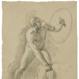 Estudio de desnudo masculino con casco y escudo cogiendo el brazo de otra figura