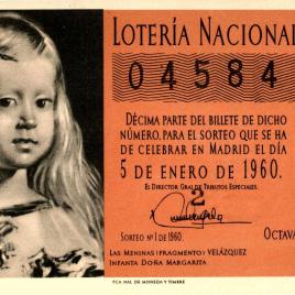 Billete de Lotería Nacional para el sorteo de 5 de enero de 1960
