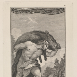 Hércules lleva vivo al jabalí del monte Erymanto