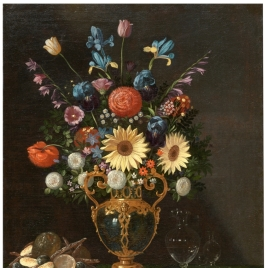 Still Life with a Vase of Flowers and a Puppy
