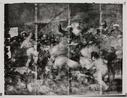 <p><em>Dos de mayo de 1808 en Madrid</em>. Roturas de la tela</p>