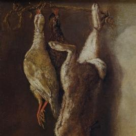 Bodegón de caza con una liebre y dos perdices