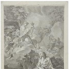 Santa María Magdalena adorando el Sagrado Corazón