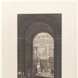 Vista del coro de la iglesia desde la entrada conventual, Real Monasterio de San Lorenzo de El Escorial