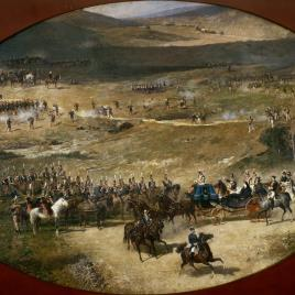 Queen María Cristina and her Daughter, Isabel II, reviewing the Artillery Batteries defending Madrid in 1837