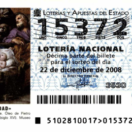 Billete de Lotería Nacional para el sorteo de 22 de diciembre de 2008