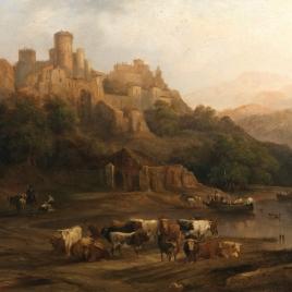 Manada de toros junto a un río, al pie de un castillo