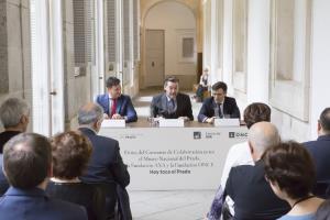 """El Museo del Prado, la Fundación AXA y Fundación ONCE firman un convenio de colaboración para la itinerancia de """"Hoy toca el Prado"""""""