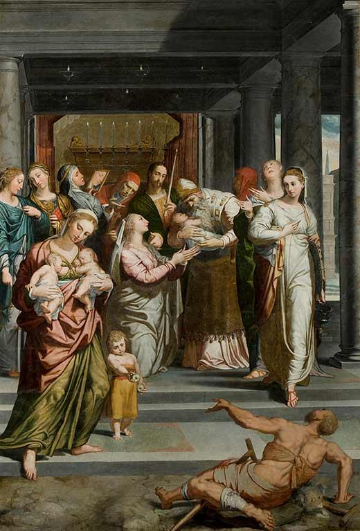 <p><em>La Purificación de la Virgen</em>de Pedro de Campaña, después de la restauración</p>