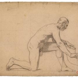 Desnudo masculino arrodillado