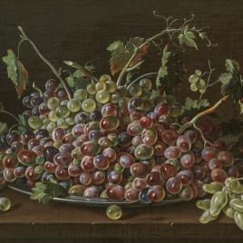 Bodegón con bandeja de uvas