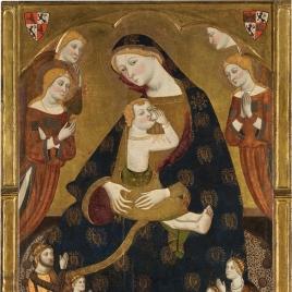 Virgen de Tobed con los donantes Enrique II de Castilla, su mujer, Juana Manuel, y dos de sus hijos, Juan y Juana(?)