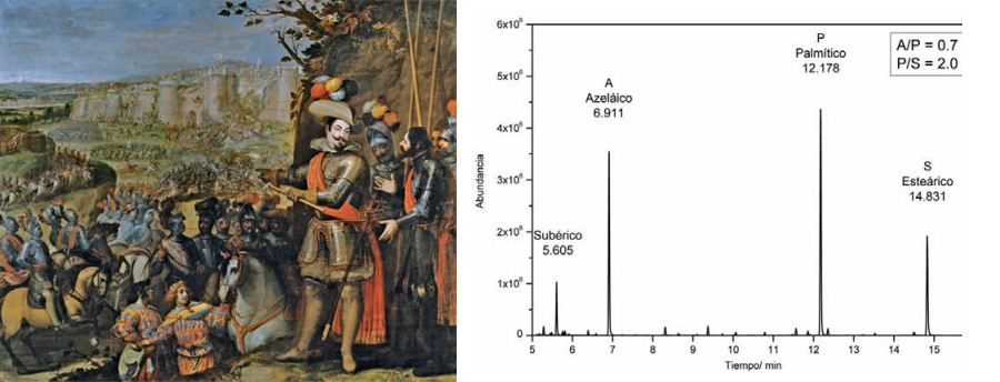 <p><strong>Fig.6: </strong>Cromatograma del aglutinante de la imprimación obtenido mediante GC-MS de la obra de Vicente Carducho, <em>La expugnación de Rheinfelden</em>, 1634. 297 x 357 cm (P-637). Las proporciones relativas de los ácidos azelaico, palmítico y esteárico indican que se trata de aceite de linaza.</p>