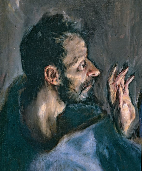 <p><strong>Fig.2(a): </strong>Detail of El Greco, Adoration of the shepherds, 1612-14.319 x 180 cm (P-2988).</p>