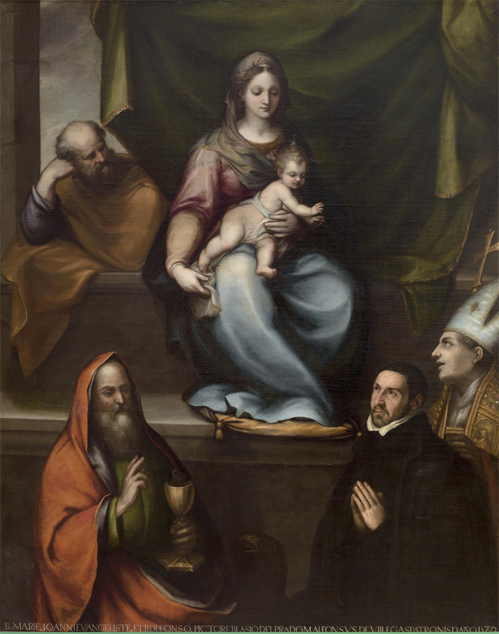 <p><strong>Fig.1(a):</strong>Blas de Prado, <em>La Sagrada Familia, san Ildefonso, san Juan Evangelista y el maestro Alonso de Villegas</em>, 1589. 209 x 165 cm (P-1059).</p>