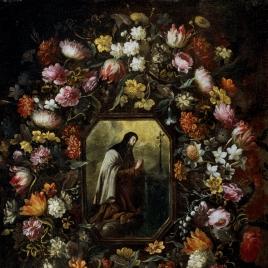 Guirnalda de flores con Santa Teresa de Jesús