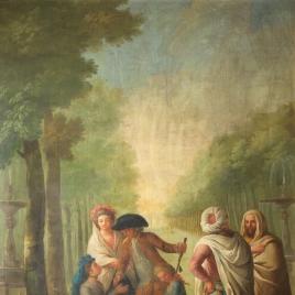 Paseo del Prado con personajes junto a una vendedora ambulante