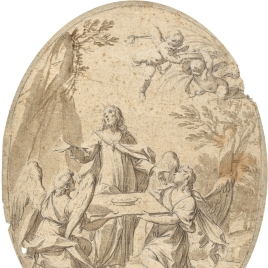 Cristo en el desierto asistido por ángeles