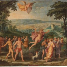 Alegoría del mes de Junio con el triunfo de Mercurio y el signo de Cáncer