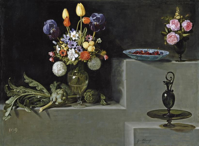 Bodegón con alcachofas, flores y recipientes de vidrio (reproducción con la técnica Didú)