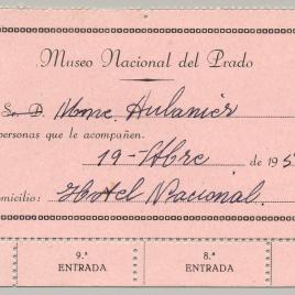 Tarjeta de visita gratuita al Museo del Prado expedidas por la Dirección de 1950