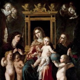 La Virgen con el Niño en un trono con ángeles