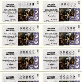 Capilla de billete de Lotería Nacional para el sorteo de 11 de octubre de 1972