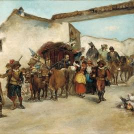 Salida de la venta por don Quijote encantado con toda la comitiva