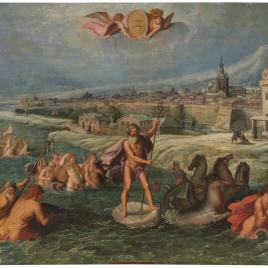 Alegoría del mes de Febrero con el triunfo de Neptuno y el signo de Piscis