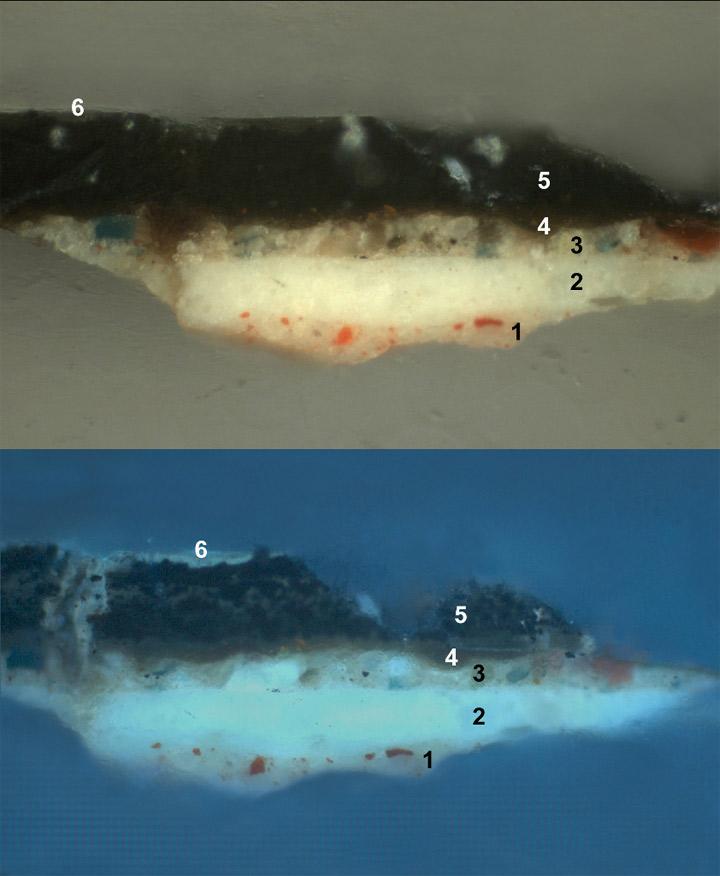 <p><strong>Fig.2: </strong>Estratigrafía. Repinte negro, capa orgánica intermedia y capa pictórica</p>