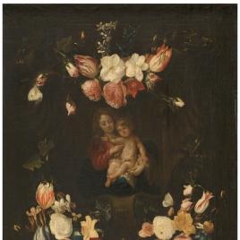 La Virgen y el Niño dentro de una guirnalda de flores