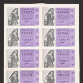 Capilla de billete de Lotería Nacional para el sorteo de 15 de septiembre de 1960