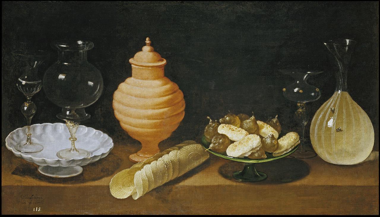Bodegón con dulces y recipientes de cristal [Van der Hamen]