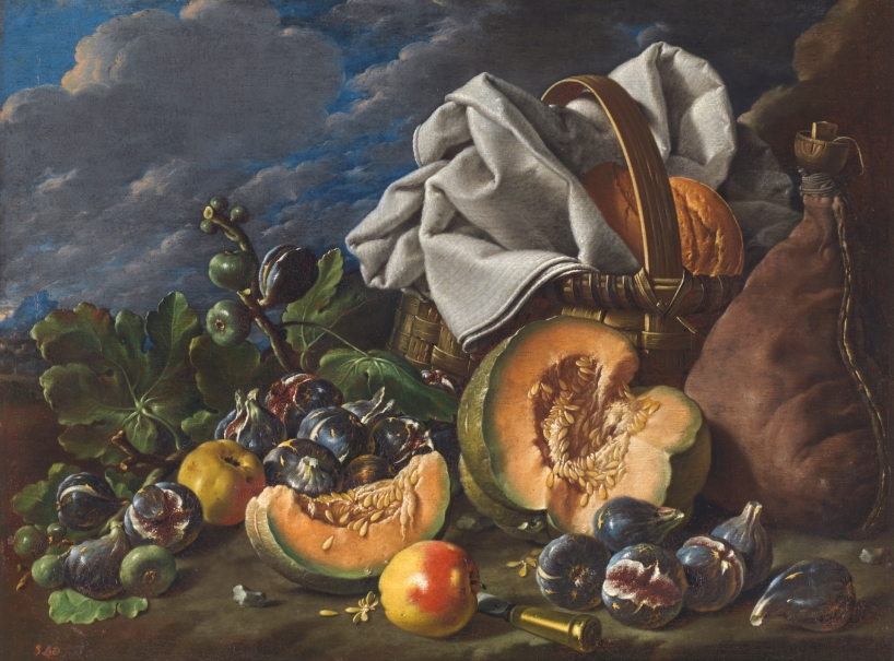 Bodegón con melón y brevas, manzanas, bota de vino y cesta de merienda en un paisaje