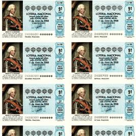 Capilla de billete de Lotería Nacional para el sorteo de 11 de junio de 1988