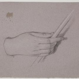 Estudio de mano derecha femenina cogiendo una caña