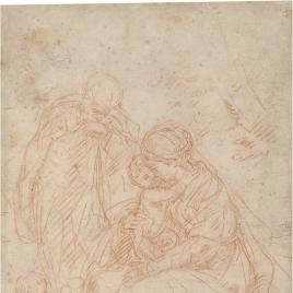 Sagrada Familia con San Juanito / Cabeza de joven y Virgen con el Niño