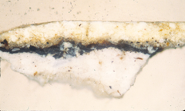 <p><em>Figure 3a</em>. The preparation of white lead, a Velázquez feature after his first trip to Italy, can be seen in this sample of the original area</p>