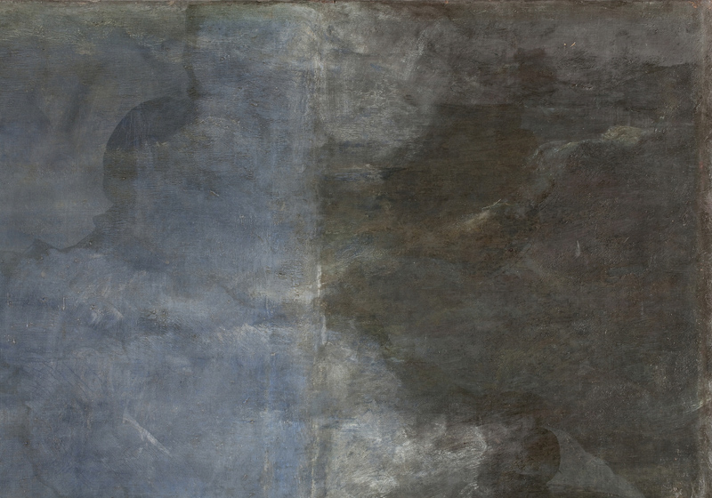 <p><em>Figure 2</em>. Detail of the sky in the original section and added during restoration</p>