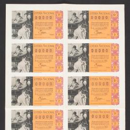 Capilla de billete de Lotería Nacional para el sorteo de 16 de agosto de 1960