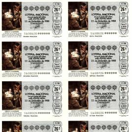 Capilla de billete de Lotería Nacional para el sorteo de 22 de diciembre de 1988