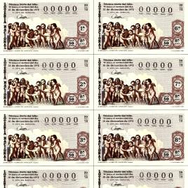 Capilla de billete de Lotería Nacional para el sorteo de 15 de diciembre de 1972
