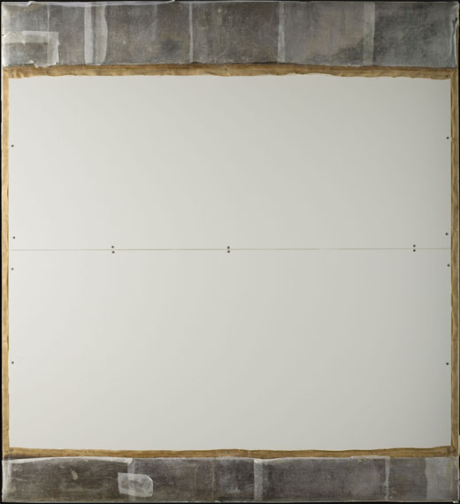 <p><em>Fig.2</em>. Reverse of the painting protected with lightweight card. The additional strips have been folded over the back and protected with tissue paper</p>