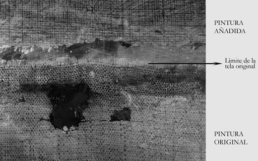 <p><em>Fig.2</em>. Detail of the x-ray at the point where the original canvas meets the later addition</p>