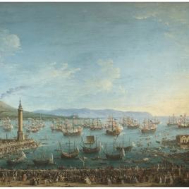 Partida de Carlos de Borbón a España, vista desde la dársena