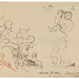 La musa Erato tocando una lira con varios amorcillos. Figura femenina / Apunte de figura femenina de perfil