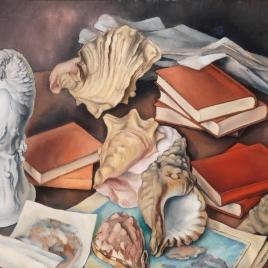 Bodegón con caracolas y libros