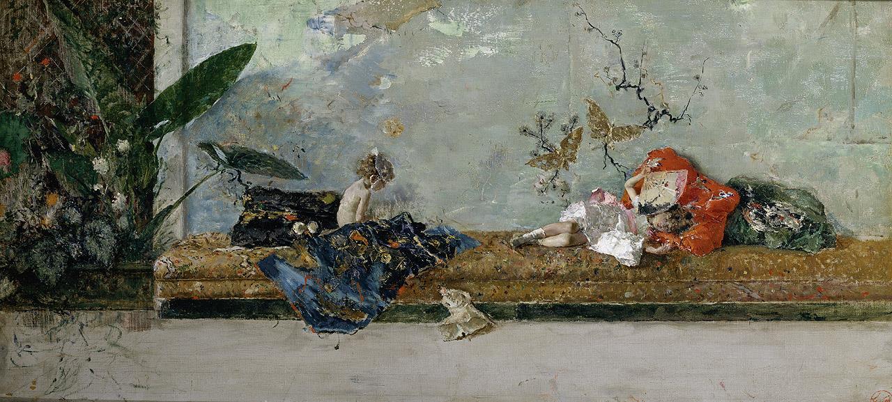 Hijos del pintor, María Luisa y Mariano, en el salón japonés, Los [Fortuny]