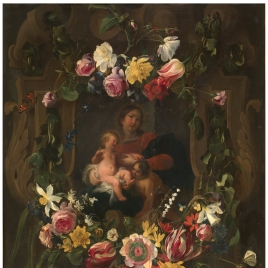 Guirnalda con la Virgen, el Niño y San Juan